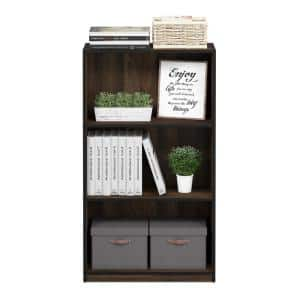 39.5 in. Columbia Walnut Wood 3-shelf Standard Bookcase with Storage