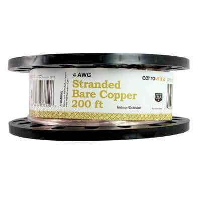 200 ft. 4/1 Stranded Bare Copper Grounding Wire
