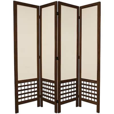 5.5 ft. Burnt Brown Open Muslin 4-Panel Room Divider