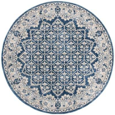 Brentwood Navy/Light Gray 5 ft. x 5 ft. Round Multi-Floral Geometric Border Area Rug