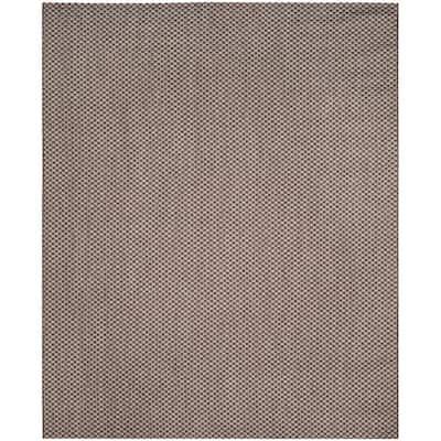 Courtyard Light Brown/Light Gray 9 ft. x 12 ft. Solid Indoor/Outdoor Area Rug