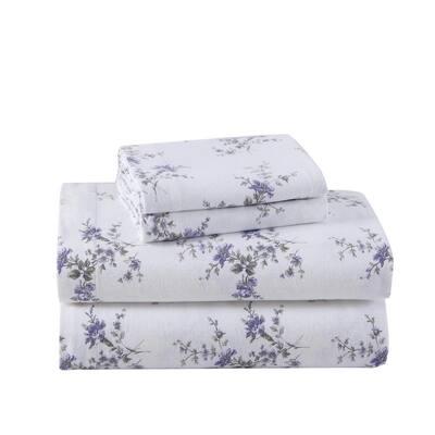 Jessika Flannel 4-Piece Purple Floral Cotton Queen Sheet Set