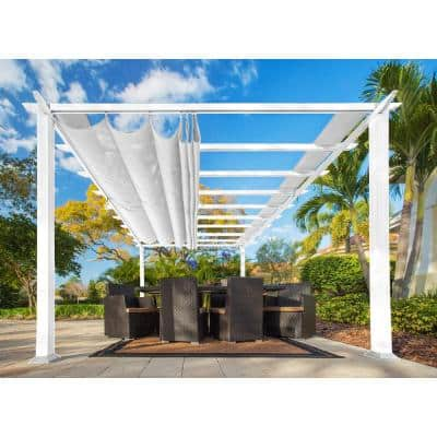Paragon 11 ft. x 16.5 ft. White Aluminum Pergola with an Off-White Color Convertible Canopy Top