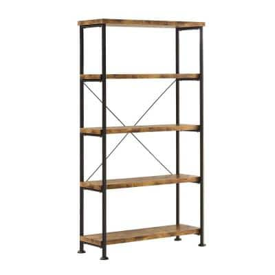 Rustically Designed 63 in. Brown/Black Metal 5-shelf Standard Bookcase with Open Back