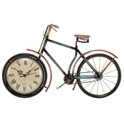 10 in. x 16 in. Iron Clock in Bicycle Frame