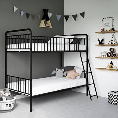 Kolin Black Metal Twin Over Twin Bunk Bed