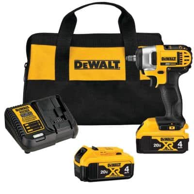 20-Volt MAX Cordless 3/8 in. Impact Wrench Kit with Hog Ring, (2) 20-Volt 4.0Ah Batteries & Charger