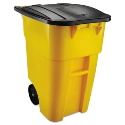 Brute 50 Gal. Yellow Plastic Square Rollout Trash Can with Lid