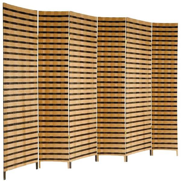 Oriental Furniture 6 Ft 2 Tone Natural Fiber Panel Room Divider Jh09 128 6p The Home Depot