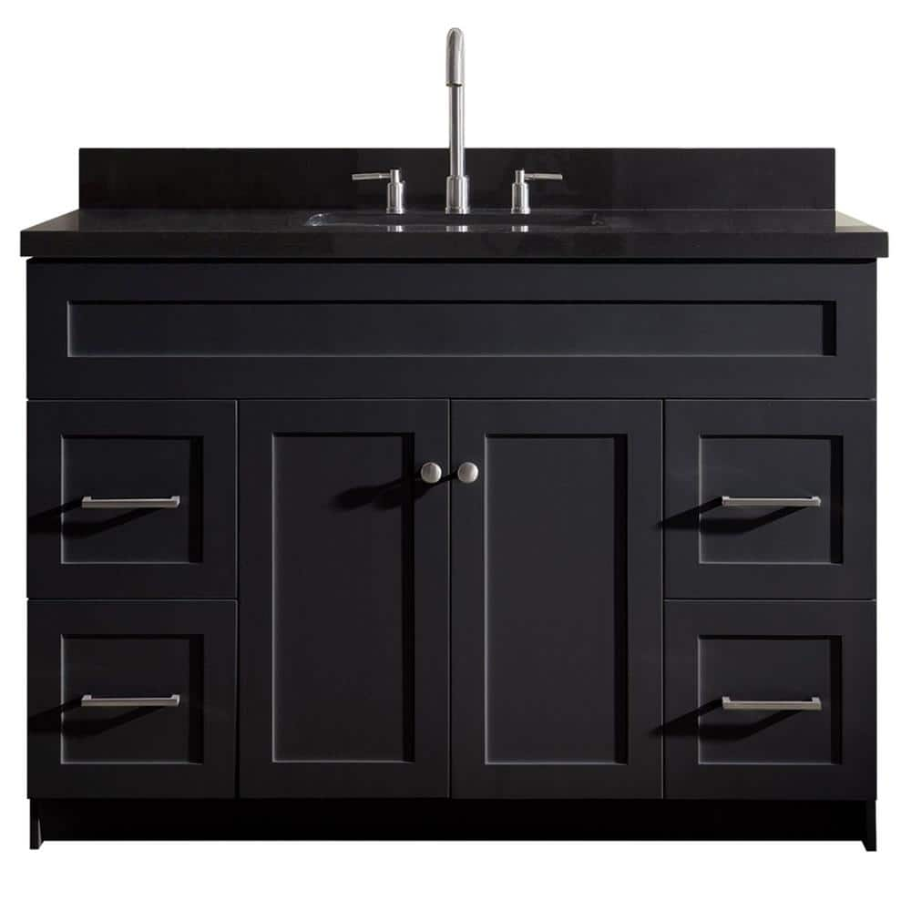 Ariel Hamlet 49 In Bath Vanity In Black With Granite Vanity Top In Absolute Black With White Basin F049s Ab Vo Blk The Home Depot