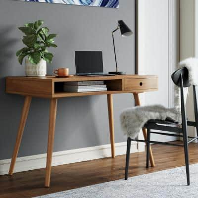 Parker 42 in. Walnut Modern Home Office Small Writing Desk for Computer or Laptop W/ Open Storage Cubby and Small Drawer