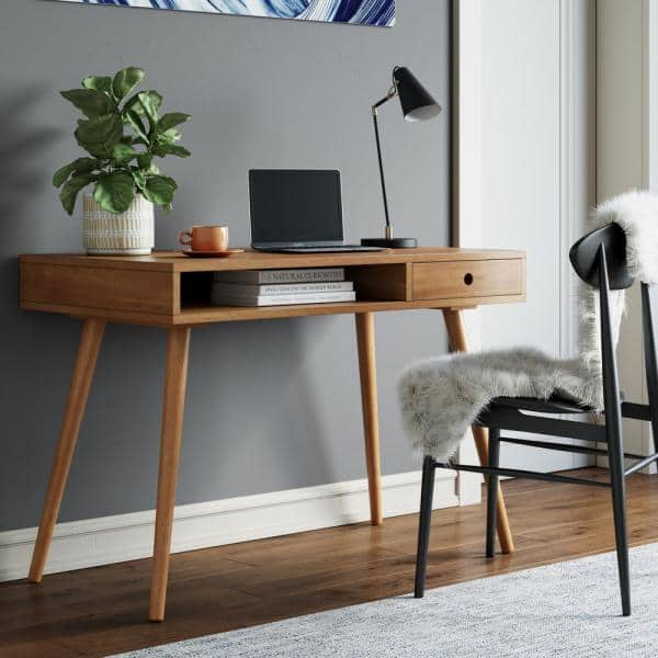 Nathan James Parker 42 In Walnut Modern Home Office Small Writing Desk For Computer Or Laptop W Open Storage Cubby And Small Drawer 51401 The Home Depot