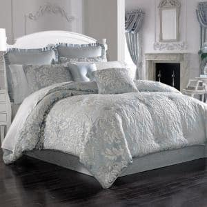Faith French 4-Piece Blue Polyester King Comforter Set
