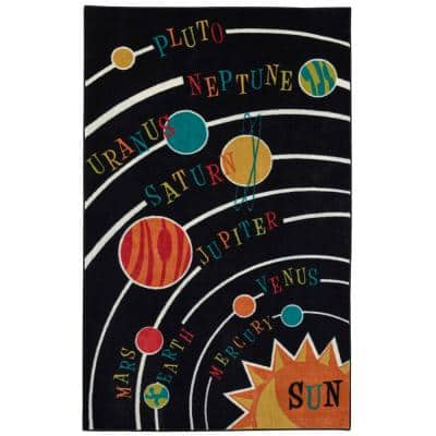 Solar System Black 7 ft. 6 in. x 10 ft. Area Rug