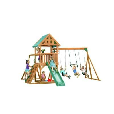 Mountain View Playset with Tarp Roof, Green Accessories and Green Slide