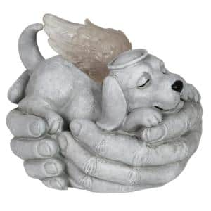 Solar Cradled Angel Dog Statue