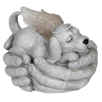 Solar Cradled Angel Dog Statue