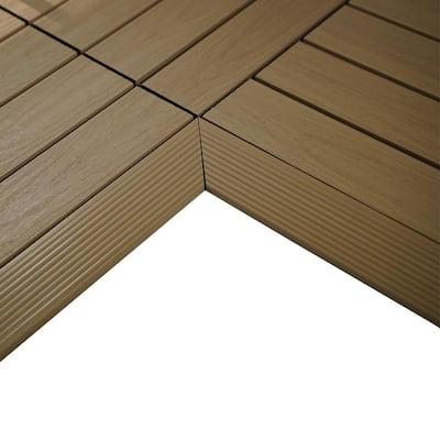 1/6 ft. x 1 ft. Quick Deck Composite Deck Tile Inside Corner Fascia in Japanese Cedar (2-Pieces/Box)