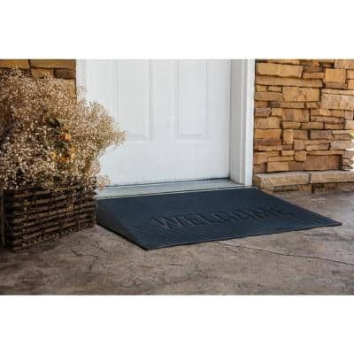 TRANSITIONS Gray 43 in. W x 25 in. L x 2.5 in. H Rubber Angled Entry Door Threshold Welcome Mat