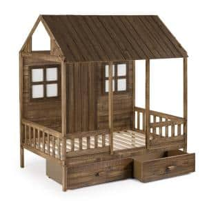 Front Porch Rustic Driftwood Twin Low Loft Bed with Dual Underbed Drawers