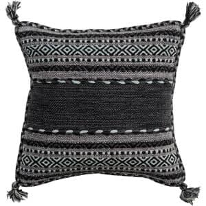 Ganale Black Striped Polyester 18 in. x 18 in. Throw Pillow