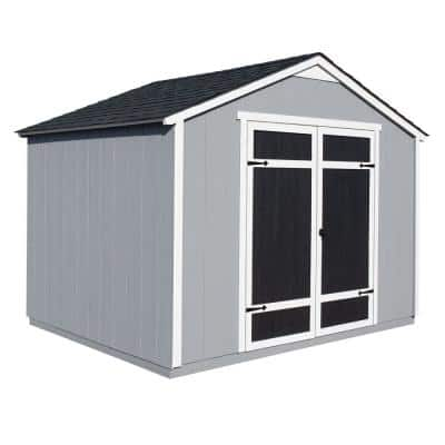 Installed Monarch 8 ft. x 10 ft. Wood Storage Building with Onyx Black Shingles