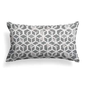 Grey Cubed Outdoor Lumbar Throw Pillow