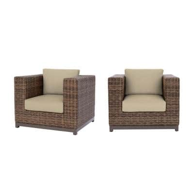Fernlake Taupe Wicker Outdoor Patio Stationary Lounge Chair with CushionGuard Putty Tan Cushions (2-Pack)