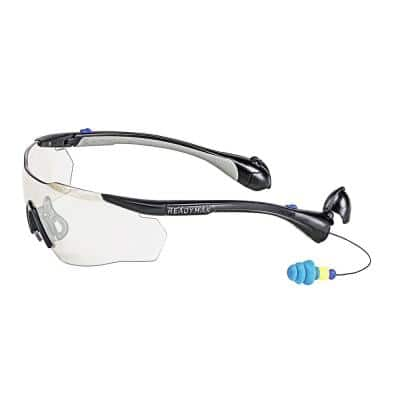 Men's Sport Safety Glasses Black Frame Indoor/Outdoor Lens with NRR 25 db Silicone PermaPlugs