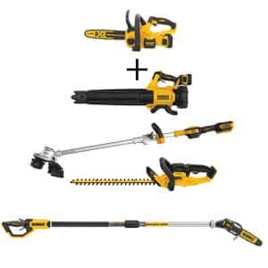 12 in. 20V Cordless Brushless Chainsaw Kit w/20V Blower Kit, String Trimmer, Hedge Trimmer and Pole Saw (Tools Only)