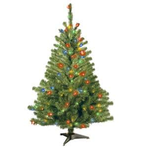 4 ft. Kincaid Spruce Artificial Christmas Tree with Multicolor Lights