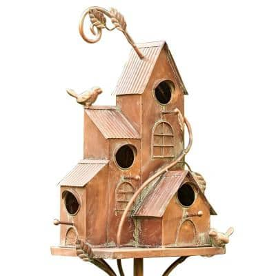 Iron 4 Home Bungalow Copper Color Birdhouse Stake New Hope