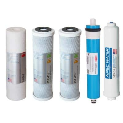 """ULTIMATE Complete Replacement Filter Set for 90 GPD Reverse Osmosis System with Upgraded 3/8""""D Tubing Quick Dispense"""