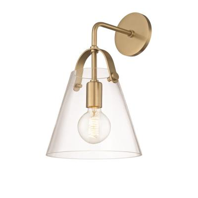 Karin 1-Light Aged Brass Wall Sconce with Clear Glass