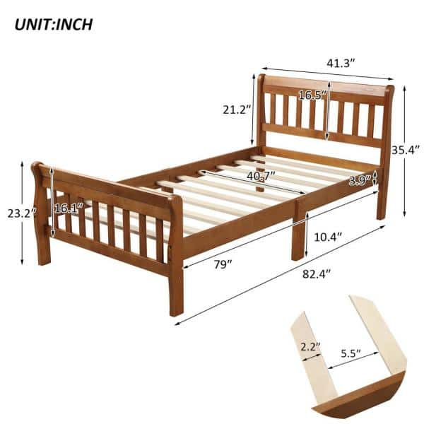 Boyel Living Wood Platform Bed Twin, How Large Is A Twin Bed Frame