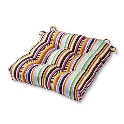Malibu Stripe Sunbrella Square Tufted Outdoor Seat Cushion