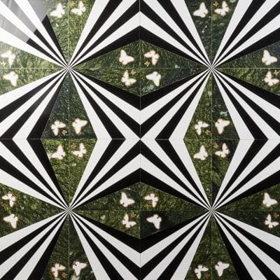Elizabeth Sutton Viola Butterfly Green 12 in. x 12 in. Polished Marble Floor and Wall Mosaic Tile (2 sq. ft. / Case)