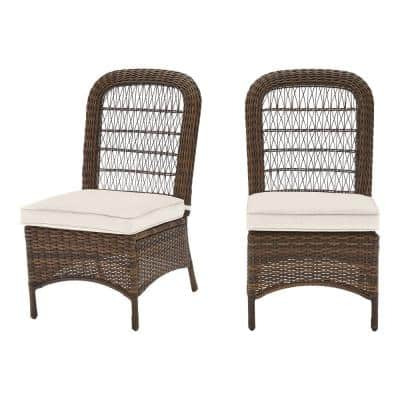Beacon Park Brown Wicker Outdoor Patio Armless Dining Chair with CushionGuard Almond Tan Cushions (2-Pack)