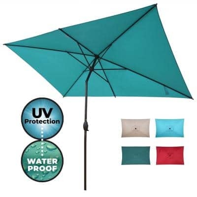 10 ft. x 6.5 ft. Rectangular Market Patio Umbrella Outdoor with Push Button Tilt and Crank in Turquoise