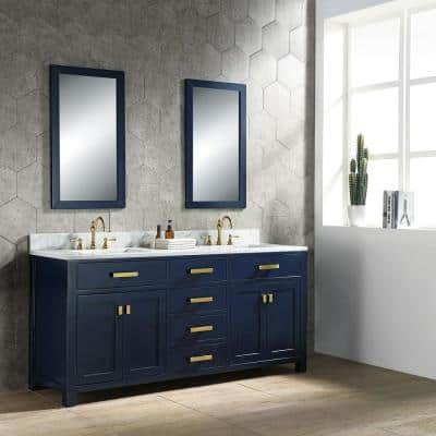 Madison 72 in. Bath Vanity in Monarch Blue with Carrara White Marble Vanity Top with White Basins
