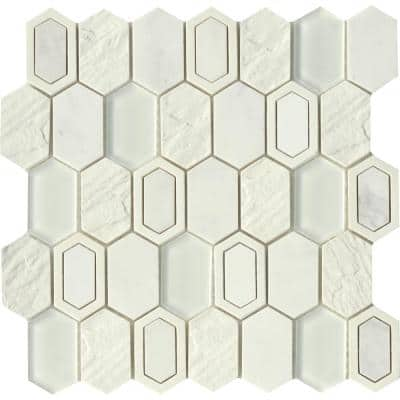 Literati Irving 11.85 in. x 11.93 in. Honeycomb Glossy & Matte blend Cement Mosaic Tile ( 1.001 sq. ft./Each)