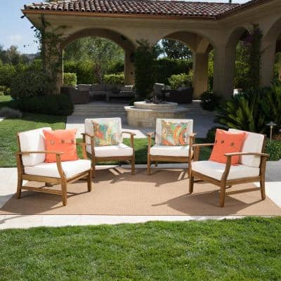 Giancarlo Stationary Wood Outdoor Lounge Chair with Cream Cushions (4-Pack)