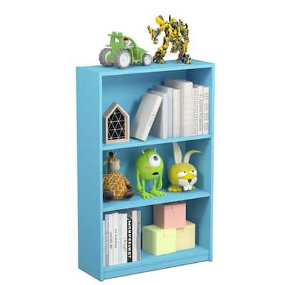 40.3 in. Light Blue Wood 4-shelf Standard Bookcase with Adjustable Shelves