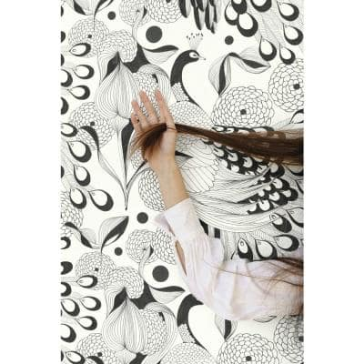 Illustrated Peacocks Wallpaper Black & White Paper Strippable Roll (Covers 57 sq. ft.)