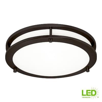 Mahone 14.5 in. 23-Watt Heirloom Bronze Medium Integrated LED Flush Mount
