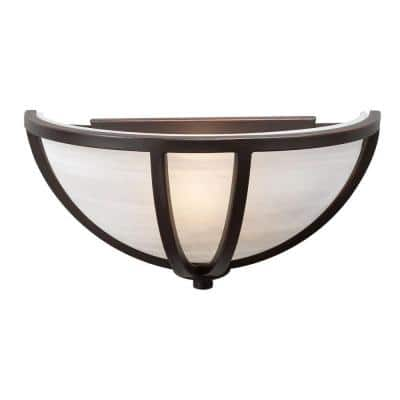 1-Light Oil-Rubbed Bronze Sconce with Marbleized Glass