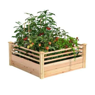 48 in. L x 48 in. W x 11 in. H Cedar Raised Garden Bed with Corral Sides