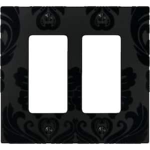 Damask 2 Gang Rocker Composite Wall Plate - Black