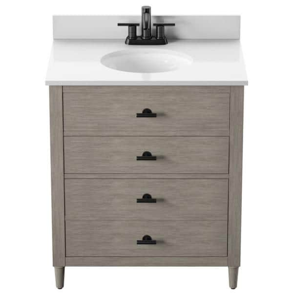 Twin Star Home Dresser Style 30 In Bath Vanity In Barstow Acacia With Stone Vanity Top In White With White Basin 30bv438 Qm654 The Home Depot