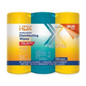 35-Count Fresh Scent and Lemon Scent Disinfecting Wipes (3-Pack)